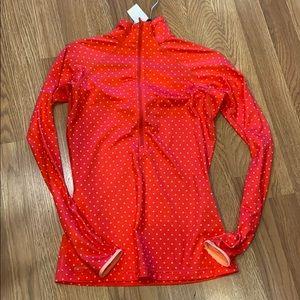 Nike Pink polka dot Dry-Fit Mock neck Sweatshirt